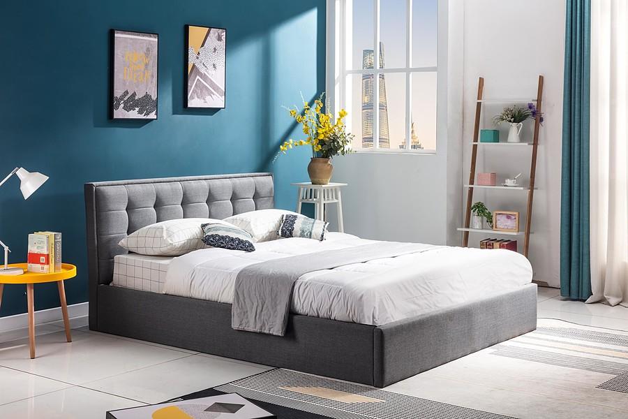 160cm łóżko z pojemnikiem popielaty