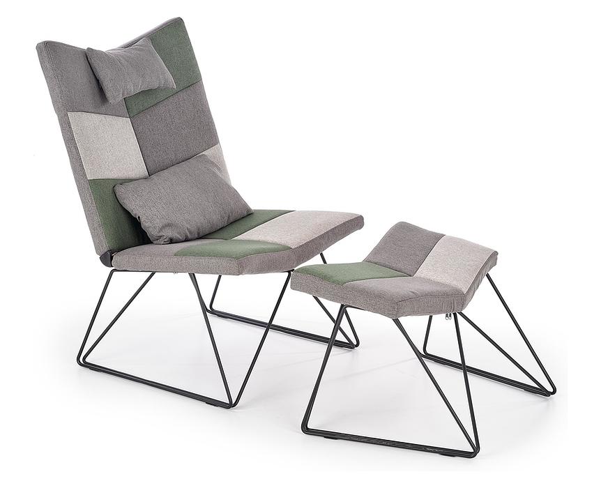 Fotel wypoczynkowy z podnóżkiem wielobarwny