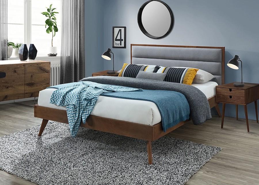Łóżko popielaty / orzech