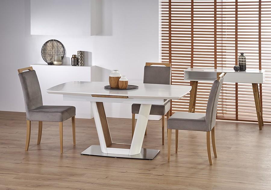 Stół rozkładany biały / dąb złoty