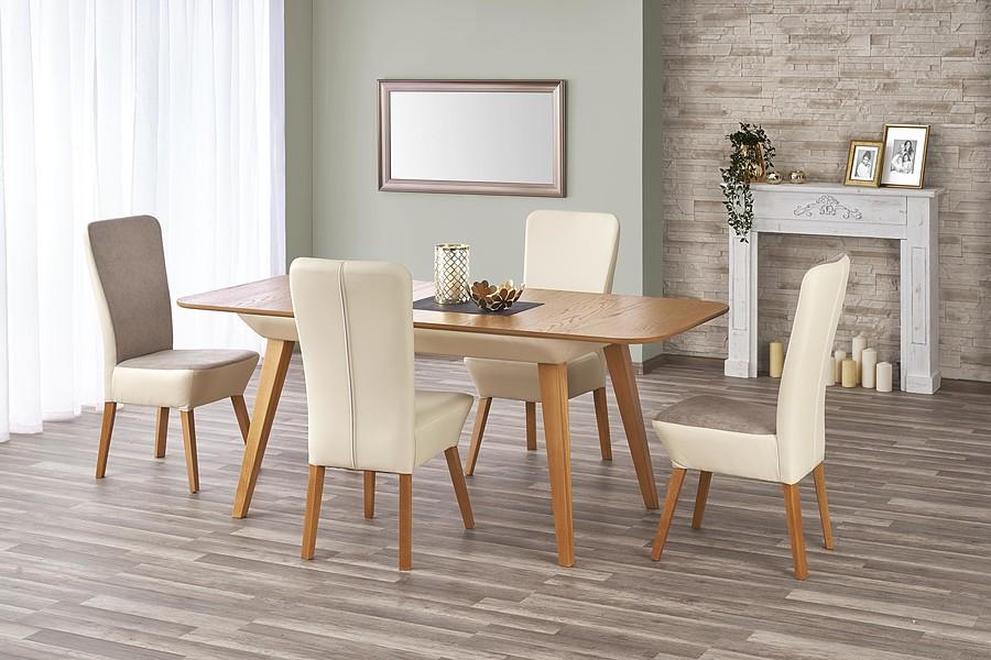Stół rozkładany dąb miodowy / beżowy