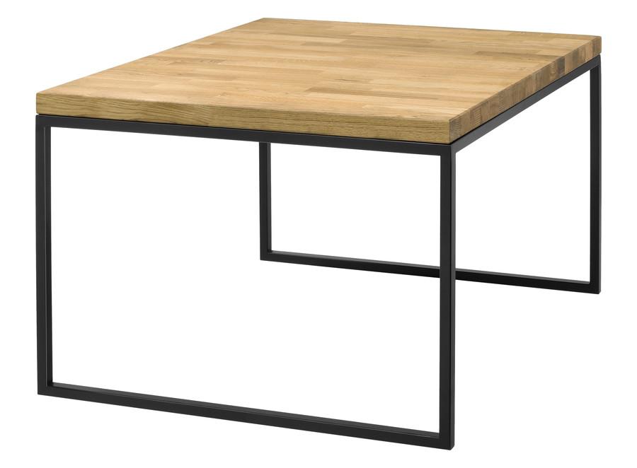 Stół z drewnianym blatem dębowym (lite drewno) Metal